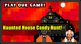 Play our retro Halloween game, Haunted House Candy Hunt!